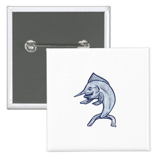 Blue Marlin Fish Isolated Cartoon 2 Inch Square Button