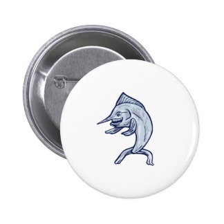 Blue Marlin Fish Isolated Cartoon 2 Inch Round Button
