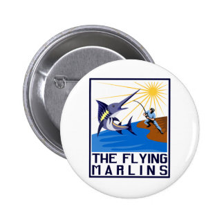 blue marlin fish jumping 2 inch round button