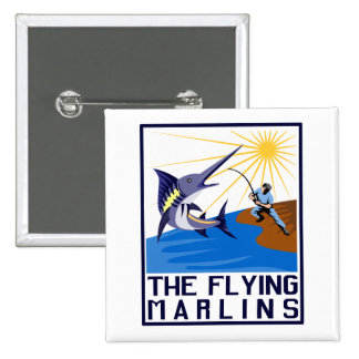 blue marlin fish jumping 2 inch square button