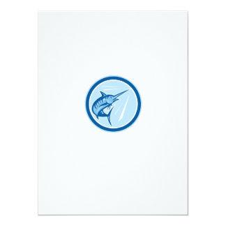 Blue Marlin Fish Jumping Circle Cartoon 14 Cm X 19 Cm Invitation Card