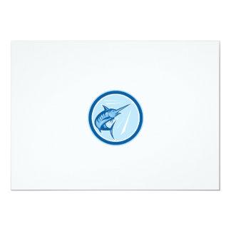 Blue Marlin Fish Jumping Circle Cartoon 13 Cm X 18 Cm Invitation Card
