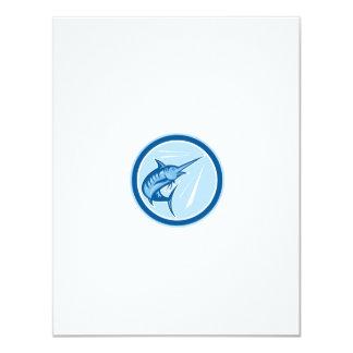 Blue Marlin Fish Jumping Circle Cartoon 11 Cm X 14 Cm Invitation Card