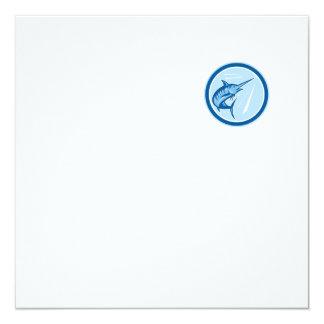 Blue Marlin Fish Jumping Circle Cartoon 13 Cm X 13 Cm Square Invitation Card
