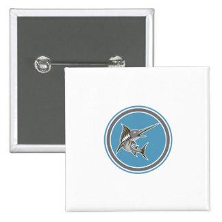 Blue Marlin Fish Jumping Circle Retro Badge