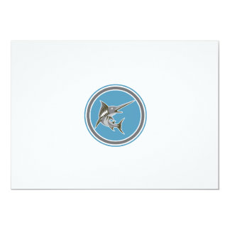 Blue Marlin Fish Jumping Circle Retro 13 Cm X 18 Cm Invitation Card