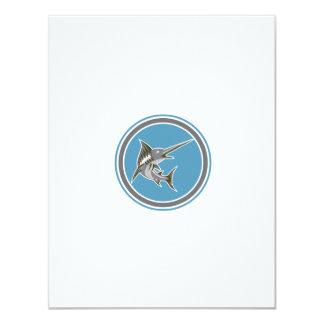 Blue Marlin Fish Jumping Circle Retro 11 Cm X 14 Cm Invitation Card