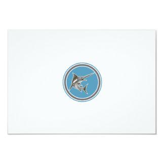 Blue Marlin Fish Jumping Circle Retro 9 Cm X 13 Cm Invitation Card