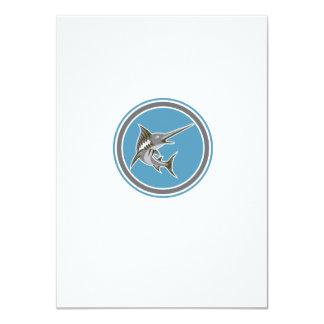 Blue Marlin Fish Jumping Circle Retro 11 Cm X 16 Cm Invitation Card