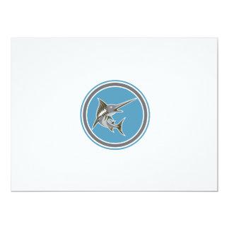 Blue Marlin Fish Jumping Circle Retro 17 Cm X 22 Cm Invitation Card
