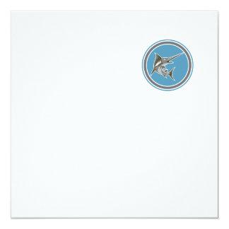 Blue Marlin Fish Jumping Circle Retro 13 Cm X 13 Cm Square Invitation Card