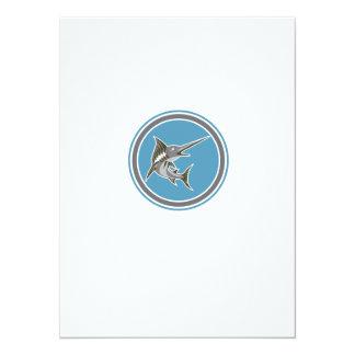 Blue Marlin Fish Jumping Circle Retro 14 Cm X 19 Cm Invitation Card