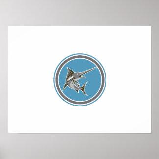 Blue Marlin Fish Jumping Circle Retro Print
