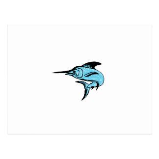 Blue Marlin Fish Jumping Drawing Postcard