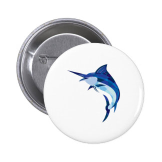 Blue Marlin Fish Jumping Low Polygon 2 Inch Round Button