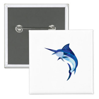 Blue Marlin Fish Jumping Low Polygon 2 Inch Square Button