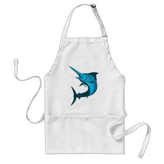 blue marlin fish jumping retro adult apron
