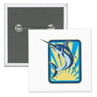 Blue Marlin Fish Jumping Retro 2 Inch Square Button