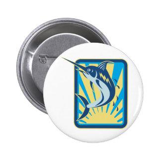 Blue Marlin Fish Jumping Retro Pin