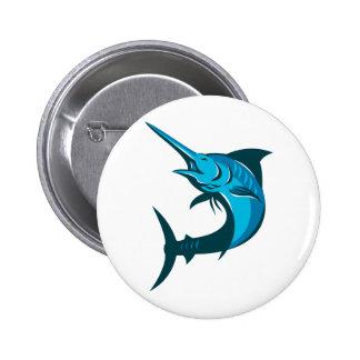 blue marlin fish jumping retro pinback button