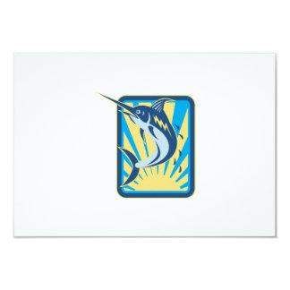 Blue Marlin Fish Jumping Retro 3.5x5 Paper Invitation Card