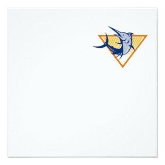 Blue Marlin Fish Jumping Retro 13 Cm X 13 Cm Square Invitation Card