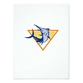 Blue Marlin Fish Jumping Retro 14 Cm X 19 Cm Invitation Card