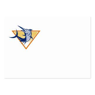Blue Marlin Fish Jumping Retro Large Business Card