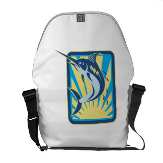 Blue Marlin Fish Jumping Retro Courier Bags