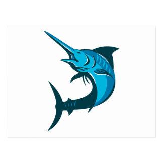 blue marlin fish jumping retro postcard