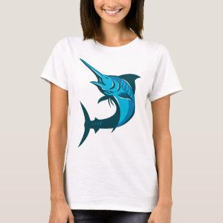 blue marlin fish jumping retro T-Shirt
