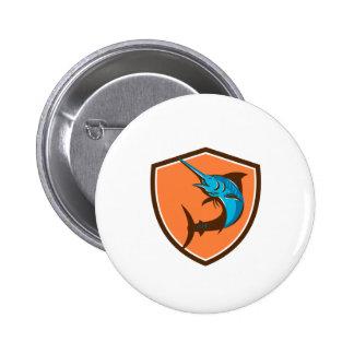 Blue Marlin Fish Jumping Shield Retro 2 Inch Round Button