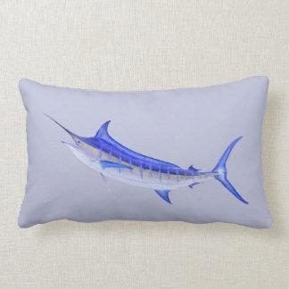 Blue Marlin Fish on Gray Lumbar Pillow
