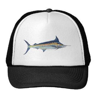 blue marlin fish painting trucker hats