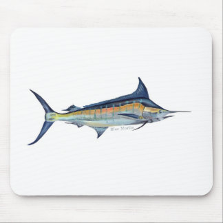 blue marlin fish painting mouse pad