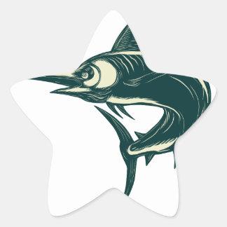 Blue Marlin Jump Scratchboard Star Sticker