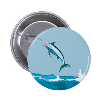 blue marlin jumping 2 inch round button