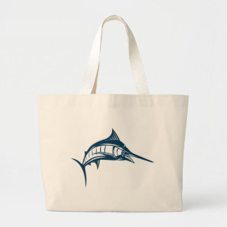 blue marlin jumping isolated on white tote bags