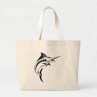 Blue marlin jumping isolated on white bag