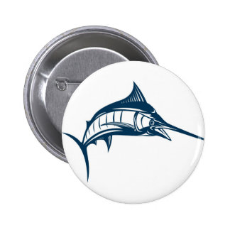 blue marlin jumping isolated on white 2 inch round button