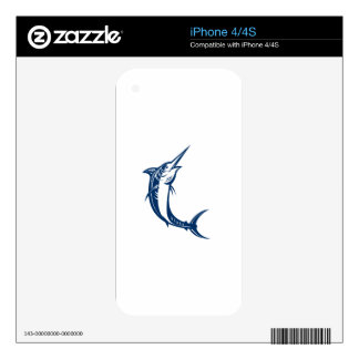 Blue Marlin Jumping Retro Skins For iPhone 4S