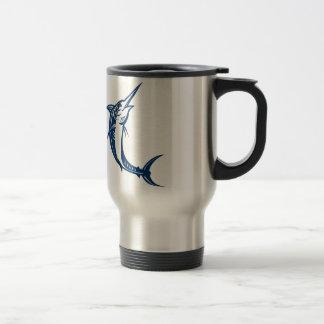 Blue Marlin Jumping Retro Travel Mug