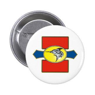 Blue marlin  jumping shield 2 inch round button
