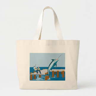 Blue marlin jumping with fisherman canvas bag