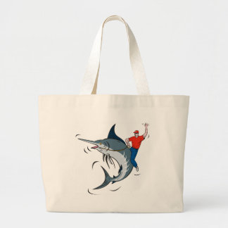 blue marlin jumping with fisherman riding tote bag