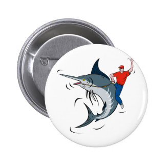 blue marlin jumping with fisherman riding 2 inch round button
