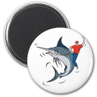 blue marlin jumping with fisherman riding refrigerator magnet