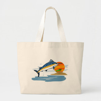blue marlin jumping with island and sun canvas bag