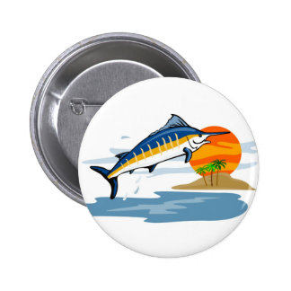 blue marlin jumping with island and sun 2 inch round button