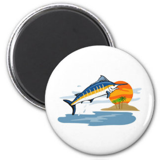 blue marlin jumping with island and sun refrigerator magnets